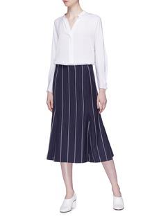 Oscar de la Renta Pinstripe godet virgin wool blend skirt