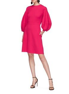 Oscar de la Renta Lantern sleeve virgin wool blend crepe dress