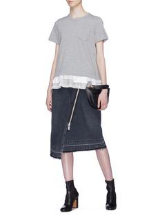 Sacai Asymmetric zip wrap denim skirt
