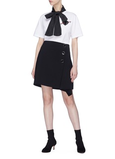 Valentino 'Love Story' bow neck embellished heart patch T-shirt