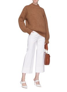Victoria Beckham Elbow patch intarsia chunky rib knit sweater