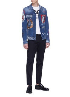 DOLCE & GABBANA 闪亮品牌标志刺绣修身长裤