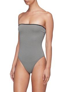 Marysia 'Adelaide' reversible stripe one-piece strapless swimsuit