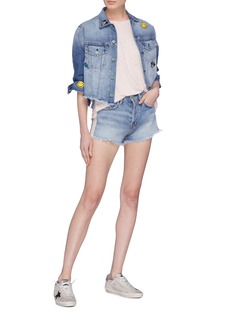 Sandrine Rose 'The Marie' graphic embroidered cropped boyfriend denim jacket