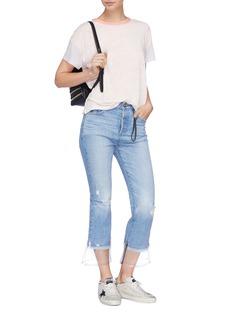 Tortoise 'Bellatula' PVC cuff cropped jeans