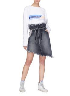 Tortoise 'Mary' paperbag asymmetric belted denim skirt