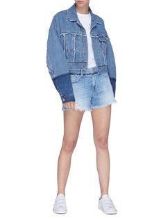 Frame Denim 'Le Grand Garcon' frayed cuff boyfriend denim shorts