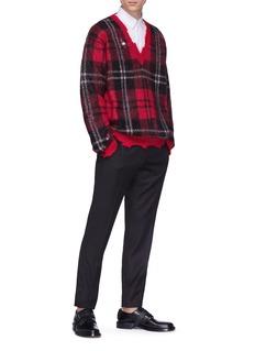 Alexander McQueen Distressed tartan plaid sweater
