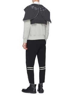 Alexander McQueen Logo embroidered layered panel hoodie