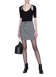 ALEXANDER WANG  铆钉按扣高腰格纹半身裙