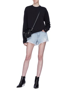 Alexander Wang  Stripe boxers underlay denim shorts