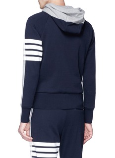 Thom Browne Stripe sleeve colourblock zip hoodie