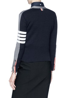 Thom Browne Colourblock stripe sleeve rib knit cardigan