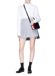 Thom Browne Colourblock pleated linen skirt
