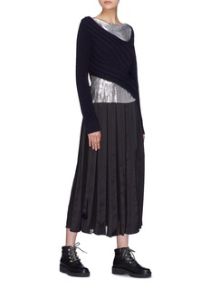 3.1 Phillip Lim Chainmail panel twist rib knit sweater