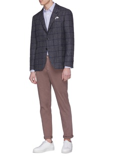 Lardini Windowpane check wool soft blazer