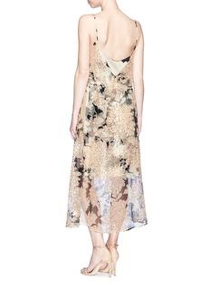 Dries Van Noten 'Delax' sequin floral print organza overlay slip dress