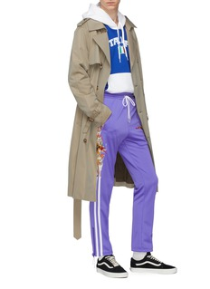 doublet Mix keyring belted twill trench coat