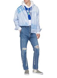 doublet 'Freezer Bag Package' laminated panel stripe shirt