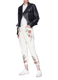 Topshop 'Mom' rose embroidered jeans