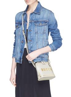Gucci 'Guccy' logo print mini leather crossbody bag