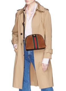 Gucci 'Ophidia' Web stripe small suede crossbody bag