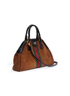 Gucci 'Re(belle)' Web stripe medium suede top handle bag