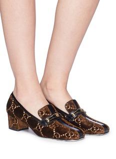 Gucci GG logo embroidered velvet loafer pumps