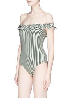 Solid & Striped 'The Amelia' stripe ruffle trim seersucker one-piece swimsuit