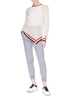 Perfect Moment Stripe border cotton-cashmere open knit sweater