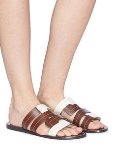 Trademark Interlock leather slide sandals