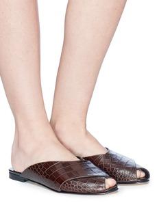 Trademark 'Pajama' croc embossed leather slide sandals