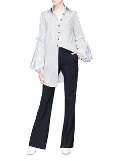 Akiko Aoki Puff sleeve oversized pussybow stripe shirt