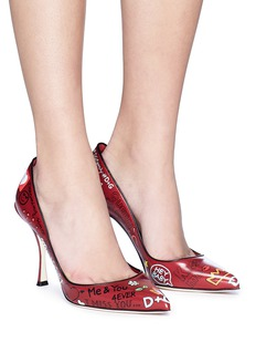 Dolce & Gabbana 'Lori' mural print leather pumps