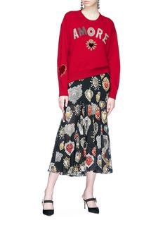 Dolce & Gabbana 'Amore' heart appliqué oversized cashmere sweater
