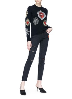 Dolce & Gabbana Heart appliqué distressed cropped skinny jeans