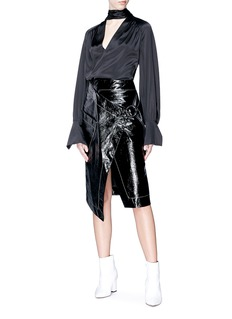 Petar Petrov 'Ruth' asymmetric patent leather wrap skirt