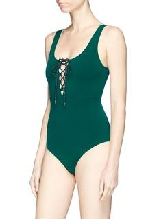 Stella McCartney 'Botanical Green' lace-up one-piece swimsuit