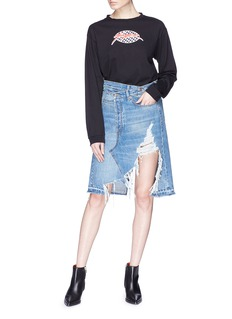 R13 'Norbury' asymmetric distressed denim skirt