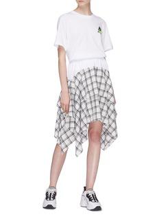 Opening Ceremony Contrast waist tartan plaid ruffle drape skirt