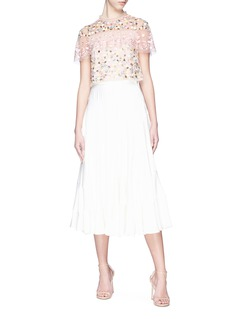 Needle & Thread Floral embellished ruffle tulle cropped top