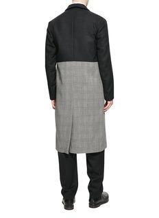 JUN by YO 拼色设计羊毛格纹风衣