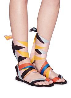 Pierre Hardy 'Zig Zag' interchangeable scarf tie colourblock slide sandals
