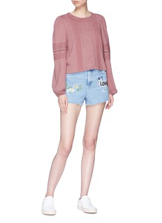 Topshop 'Mom' graphic embroidered denim shorts