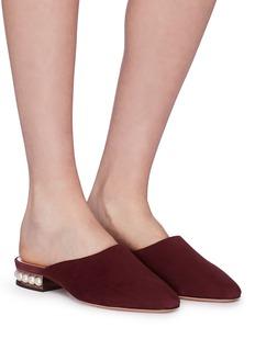 NICHOLAS KIRKWOOD Casati人造珍珠鞋跟绒面真皮穆勒拖鞋