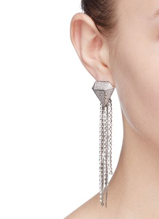 Venna Glass crystal chain fringe drop earrings