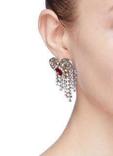 Venna Glass crystal heart fringe earrings