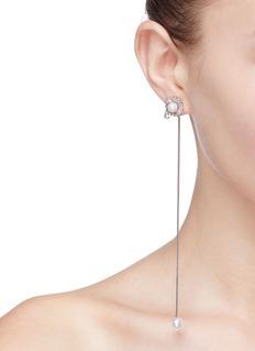 Venna Detachable faux pearl chain drop glass crystal stud earrings