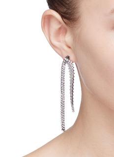 Venna Detachable glass crystal fringe drop earrings