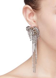 Venna Glass crystal heart fringe drop earrings